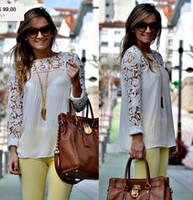 Cheap 8 Color Plus Size Women Lace Sleeve XXL Chiffion Blouses Tops Emboriey Gorgeous long Sleeve+ 2014