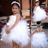 Cheap Lovely Ball Gown Knee Length Elve Flower Girl Dresses For Little Girl Spaghetti Straps With Flowers Bow Lace Up White Flower Girl Dress