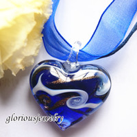 Wholesale heart glitter swirled pattern murano glass pendants with necklaces lampwork handmade fashion jewelry