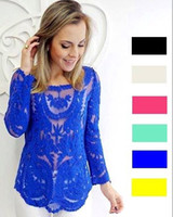 Cheap 2014 spring NEW Womens Semi Sexy Sheer Long Sleeve Embroidery Shirt Floral Lace Crochet Woman Nice Clothes Blouse Plus Size XXL+ 2014