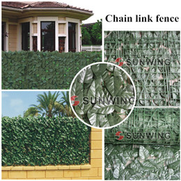 Wholesale 12 Sqm rolls M M artificial fence covering Fake Plants Banyan Leaf Chain Link Fence Artificial Fence Hedge G0602B003C