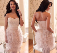 Scoop feather cocktail dress - Luxury Brand Designer Feathers Sweetheart A line Cocktail Party Dress Gowns Beading Crystals Off The Shoulder Feather Cocktail Dresses