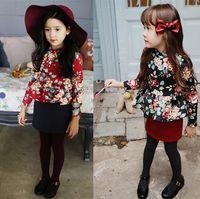 Cheap Look!New Style!Children Girl's Spring Autumn Long Sleeve Flower Print Causal Dress, Girl's Draped Edge Top Tight Dress,5 Pcs Lot A