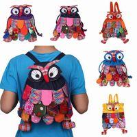 Wholesale 3PCS Ethnic Style Backpacks Child Bag Handmade Owl Pattern Double Shoulder Girl Boy Bags GNN