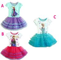 Frozen Summer Brand Girls Frozen Princess Cotton Dress Anna&...