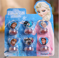 anna stamp - Hot sale Frozen Anna Elsa Stamper Set Cartoon Character Princess Stamp children kids girls Toy Gifts set Stamps christmas gift