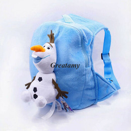 Wholesale Kids backpacks frozen olaf backpack for children girl boy schoolbags plush bags girls boys stuff dolls bag children gifts