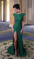Reference Images Crew Chiffon Modest Cap Sleeves High Slit Emerald Green Sequined Mermaid Evening Dresses 2014 New Arrival Vestidos De Fiesta Prom Gowns