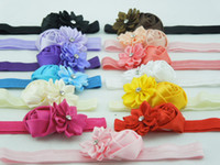 Wholesale baby girl headbands Multi Colored mini rose with satin ribbon flower Sparkling Rhinstones center Elastic headband