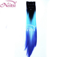 Wholesale Clip in Hair T3 Black Light blue Navy blue quot Straight Synthetic Hair Highligbt Extension Feather Hair Synthetic Tails Hair Extension