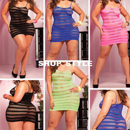 Wholesale New Womens Sexy Lingerie suit Strappy Fishnet Plus size Babydoll nightwear dress