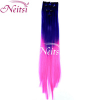 Wholesale Hot Colorful quot Ombre Hair Synthetic Hair Piece colos Available Synthetic Clip in Hair Extensions Ponytail Brazilian Hair Weaves