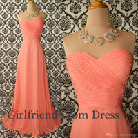 Wholesale 2014 Coral A line chiffon graduation dresses ruffles sweetheart long prom dresses evening gowns bridesmaid dresses homecoming dress BO6017