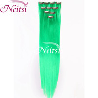 Wholesale 2014Colorful Green Synthetic Straight Clip in Hair Extension Hairpiece For Party inch F Green Synthetic Hair Extensions Ponytail