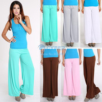 Cheap New Arrival Sexy Trendy Flare Solid Colors Big Loose Yoga Dance Palazzo Pants Women Casual Wide Leg elastic waist Trousers b6