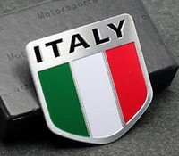 Cheap Metal Auto Racing Sports Emblem Badge Decal Sticker For IT Italy Italian Flag