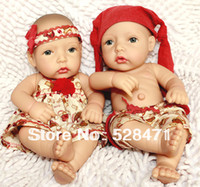 """Cheap Wholesale-OP-12"""" baby dolls silicone christmas baby doll lovely toy little girl's twin sets twins Gifts for Children's Day"""