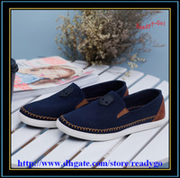 Wholesale Fashion Tide Shoe Mens Casual Boat Shoes Men Leisure Canvas Skateboard Shoe Slip on Loafers Seam Round Toe Skull Breathe Footwear Deep Blue