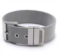 Wholesale 18mm Wide Shiny Silver Stainless Steel Nets Watch Band Wrap Bracelet with Belt Buckle for Unisex