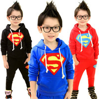 Wholesale Autumn Baby Boys Suits Hoodies Pants Superman Suits Kids Color Cotton Long Sleeved Sportswear Suit Children Suits HZ GD7