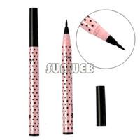 Cheap 10PCS New Waterproof Liquid Eye Liner Pen Make Up Black Eyeliner Cosmetic Pink Casing 12389