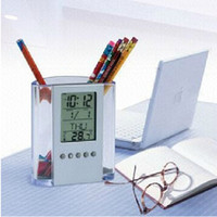 Wholesale Transparent electronic pen holder calendar clock digital calendar temperature hot new special customized promotional gifts