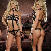 Wholesale New arrival pole club dance costume sexy lingerie faux leather lingerie cosplay Costumes SV001218