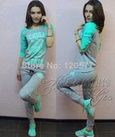 Wholesale 2014 New Autumn sport suit women MICHIGAN blue sweatshirt pants hoodies one set clothing tracksuits pullovers pics