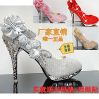 Wholesale Sexy fashion high heels pumps shoes rhinestone gold Silver wedding shoes red bridal shoes women shoes