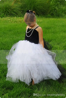 black and white flower girl dresses - Latest Desinger Classic Black And White Flower Girl Dresses Spaghetti Strapless Ball Gown Floor Length Zipper Back Flower Girl Dress