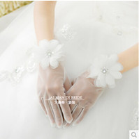 Wholesale WW White Flower Waist Length Bridal Wedding Gloves Evening Bridal Prom Party Gloves Wedding Accessories Hand Made Flower Crystal