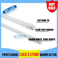 Cheap X50 DHL FREE SHIPPPING LED T8 Tube 0.6m 12W 1100LM SMD 2835 Light Lamp Bulb 2 feet 600mm 85-265V led lighting fluorescent 2 year warranty