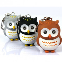 Wholesale GIFT Lovely Owl Electric LED Light Electric Torch Flashlight Keychain Keychains colours Animal Flashlight With Sound