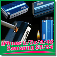 Wholesale Cigarette USB Lighter Rechargeable Luxury Phone Cover PC Hard Case Skin Cover for iPhone s Samsung galaxy S5 S4 S3 note3 retailbox