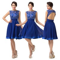 Graceful Crew Neck Sleeveless Short Blue Cocktail Dresses La...