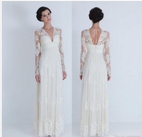 Wholesale Top Quality Beach Wedding Dresses Long Sleeve V Neck Floor Length Column Lace Empire Winter Bridal Gowns Custom Made W34