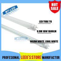 Cheap X50 DHL FREE SHIPPPING LED T8 Tube 0.9m 16W 1600LM SMD 2835 Light Lamp Bulb 3 feet 900mm 85-265V led lighting fluorescent 2 year warranty