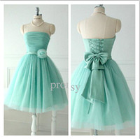 Cheap 2014 Short Lovely Beach Bridesmaid Dresses For Teens Young Girls Chic Flower Bow Sash Lace up Strapless Tulle Bridal Dress WH888