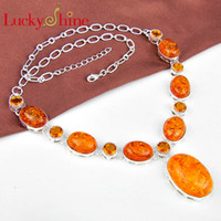 best brazil - Luckyshine Christmas Day Two pieces silver plated Best Seller Amber and brazil citrine crystal nacklace for lady party gift N580