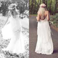 Cheap New 2014 Boho Beach Wedding Dresses Spaghetti Lace Bohemian Sweep Train Cheap Chiffon Bridal Gowns Dresses