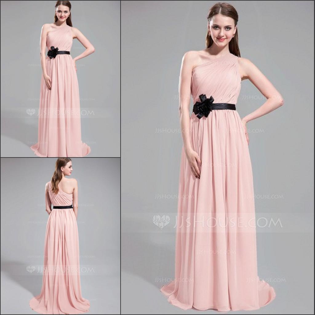 Sg 2014 Modest Pink Long Bridesmaid Dress e Shoulder A