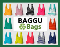 Wholesale BAGGU tote bags candy colors reusable shopping bag Portable folding ECO pouch storage buggy market environment friendly bag purse handbag