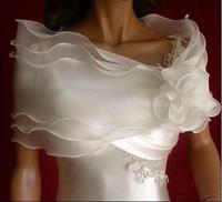 Wholesale Beautiful White Organza Wrap Wedding Bolero Jacket Stock Wedding Accessories AJ7