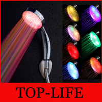 Cheap RGB 7 Color Changing 5 LED Shower Head Sprinkler Automatic Control Automatic 5 LED Lights Handing Shower Head for Bathroom