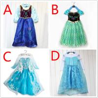 2014 hot sale girls Elsa Anna frozen princess dress children...
