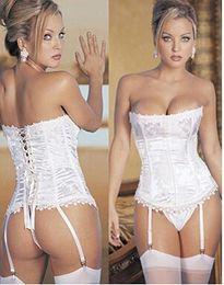 Wholesale cici528 lowest price sexy corset white weeding bone corset g string garter set corset sexy lingerie
