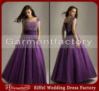 Cheap 2014 Short Sleeves Prom Dresses Capped Sleeves Open Back Beading Lace Up Evening Gowns Evening Dresses