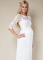 Wholesale Sheer Maternity Wedding Bridal Dresses New Design Half Sleeves Scoop Column Full Length Lace Bridal Gowns