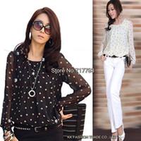 Cheap Free Shipping S M L XL XXL 3XL 4XL Loose Plus Size Women Long Sleeve Polka Dot Print Chiffon Short Style Blouse Shirts+ 2014