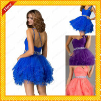 2016 Short Purple Tulle Homecoming Prom Dresses Sale Cheap U...